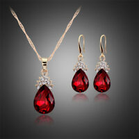 GOLD PLATED SET RED AUSTRIAN CRYSTAL TEARDROP NECKLACE EARRING KP30 GIFT BOX