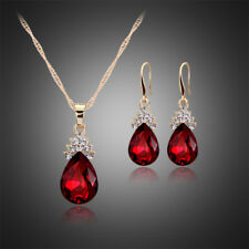 RED GOLD PLATED AUSTRIAN CRYSTAL TEARDROP NECKLACE & EARRING SET KP60 GIFT BOX