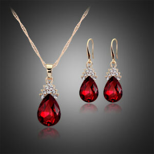RED GOLD PLATED AUSTRIAN CRYSTAL TEARDROP NECKLACE & EARRING SET KP30 GIFT BOX
