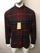 BURBERRY BRIT ECCLESTONE Check camicia taglia L DARK Sambuco