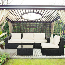 5 PCS Outdoor Patio Furniture Couch Rattan Wicker Sectional Chair Cushioned Set