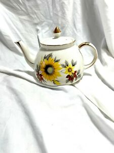 Vintage Gibson's England Sunflower and Gold Teapot