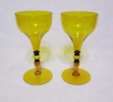 "Venetian or Murano Pair of 7"" Topaz Goblets Toasting Glasses 19th Century"