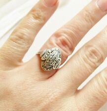 Vintage silver Art Deco marcasite gemstone ring size L 1/2