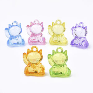 Multi Color Acrylic Fortune Lucky Cat Beads Charms for Showers Cakes Crafts Kids