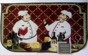 "Fat Chef Bistro 2 Chefs Wine Grapes Kitchen Mat Rug 18""x30"" Kitchen Home Decor"