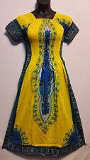 African Women Dashiki Print SunDress Kaftan Hippie Maxi Gown Plus size Yellow