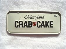 1989 MARYLAND Post Cereal License Plate # CRAB CAKE