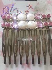RARE HTF BN 2X Bridal Party Hair Comb Clip accessory Crystal Diamante Pearl PINK