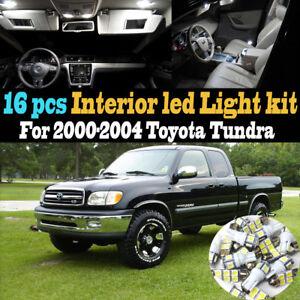 16Pc 6000k White Interior LED Light Bulb Kit Package for 2000-2004 Toyota Tundra