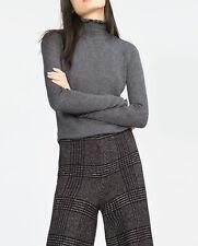 Zara Knit Crop pullover con collo alla coreana M 36 38 grigio lana