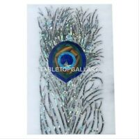 1'x1.5' Marble Coffee Table Top Mosaic Peacock Feather Inlay Art Decor Gift W049