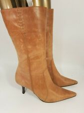 Topshop size 6 (39) tan brown leather side zip slim heel mid calf boots