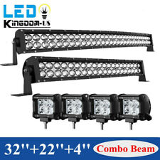32inch LED Light Bar Curved 34''+22'' Combo +4'' Pods Offroad fit Dodge Ram 1500