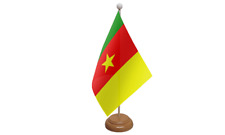 Cameroon Small Table Flag with Wooden Stand