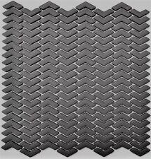Mosaik Fischgrät Vetro graubraun matt Fliesenspiegel Art: 140-HB35G   10 Matten