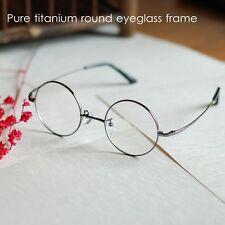 44mm Round pure titanium Eyeglass Frame gunmetal men Spectacle Optical RX-able