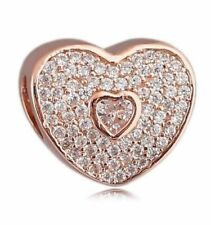 Charm Rose Gold Heart Bead Charm Birthday Bead Fits European bracelets CH166
