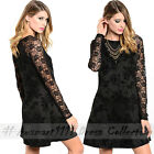 AU Sexy Long Sleeve Lace A Line Skater Dress Slim Formal Evening Club Party Gown