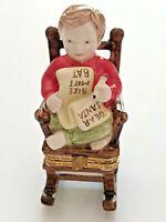 Vintage Mud Pie Christmas Boy Porcelain Figurine Trinket Box Letter to Santa EUC