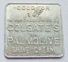 """GOOD FOR"" TOKEN ~ COLGATE - PALMOLIVE PEET ~ SHAVE CREAM ~ 1-1/16-Inch Square"