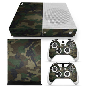 For Xbox One S Console & 2 Controllers Green Camo Vinyl Skin Wrap Decal