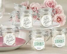 96 Personalized Glass Favor Jars Rustic Wedding Favors Q35728