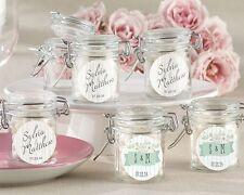 96 Personalized Glass Favor Jars Rustic Wedding Favors Q35728