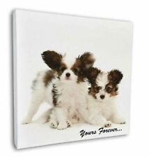"""Papillon Dogs 'Yours Forever' 12""""x12"""" Wall Art Canvas Decor, Pictur, AD-PA66-C12"""