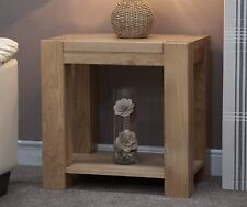 Padova solid chunky oak furniture lamp sofa side end table
