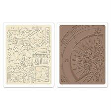 Sizzix Texture Fades Embossing Folders 2 PK Airmail & Compass Set 658574 Travel
