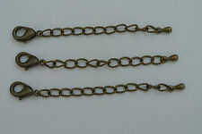 Antique Bronze Tear Drop Extender Chain with Lobster Clasp