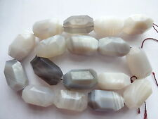 Lovely  Natural Qlty Botswana Agate Faceted Chunky Oval Gemstone Beads 6pcs