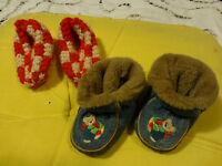 2 Paires Chaussons pour gros Poupon Vintage ou bébé