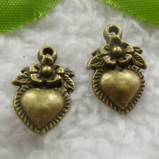 Free Ship 320 pcs bronze plated flower heart charms 19x12mm #1110