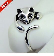 Cute Silver Colour Cat Shaped Ring With Rhinestone Eyes, Size Adjustable .