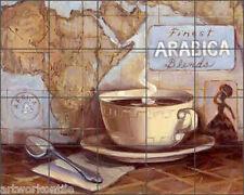"Ceramic Tile Mural Backsplash Kasun Coffee Kitchen Art 21.25"" x 17"" - EC-TK003"