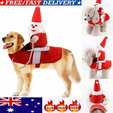 Christmas Santa Claus Pet Dog Fancy Dress Jacket Coat Costume Outfit Clothes New