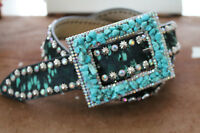 Womens Turquoise Crystal Belt Leather Hair XL Fashion Style Stone Stud  XL