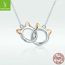 Rose Golden Pet Cat 925 Sterling Silver Necklace Halo Pendant Chain To Cute Girl