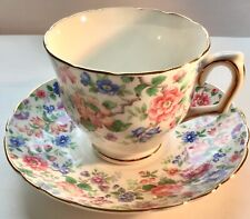 Vintage Crown Staffordshire  Chintz Fine Bone China Teacup Cup & Saucer England