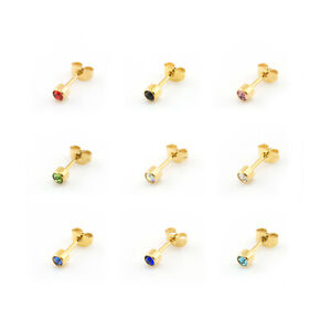 18k GOLD Plated CZ CRYSTAL GEM EAR STUDS Earrings Various Colours (Pair Of)