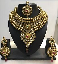 Bollywood CZ Gold Plated Indian Designer Kundan Fashion Jewelry Necklace Set