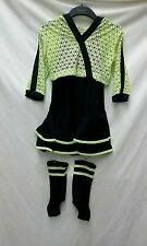 REVOLUTION NEON GREEN BLACK JAZZ HIP HOP 3 PIECE DANCE COSTUME CHILD MEDIUM