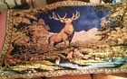 VINTAGE WALL TAPESTRY RUG 1950s 4'x 6' 12 POINT STAG W/BORDER RAYON PLUSH EUC