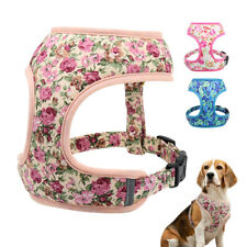 No Pull Adjustable Dog Harness Breathable Floral Small Large Dog Collar Vest