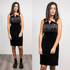 WOMENS VINTAGE 80'S BLACK VELVET SHORT STRAPPY DRESS QUILTED COCKTAIL VTG 8 10