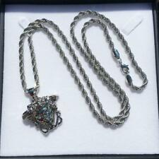 Silver Filled Medusa Pendant Necklace Heavy Bling Boys Hip Hop Necklace