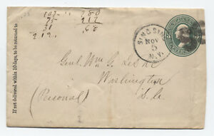 1870s Sing Sing NY SS fancy cancel on 3 cent green stamped envelope [y3139]