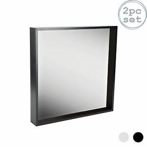 2pc Deep Box Mirror Frame Set 16 x 16 Square Acrylic Frame Black 16 x 16